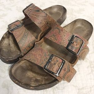 Birkenstock's brown leather design sandals